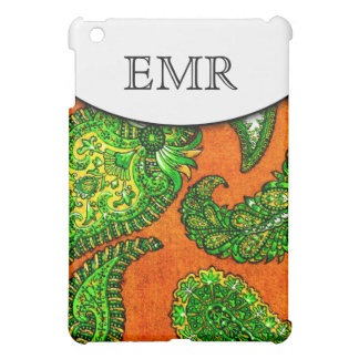 Electric Orange & Green Indian Paisley Monogrammed iPad Mini Case