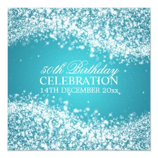 Elegant 50th Birthday Party Sparkling Wave Turquoi 13 Cm X 13 Cm Square Invitation Card