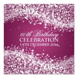 Elegant 60th Birthday Party Sparkling Wave Berry 13 Cm X 13 Cm Square Invitation Card