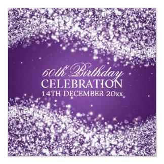 Elegant 60th Birthday Party Sparkling Wave Purple 13 Cm X 13 Cm Square Invitation Card