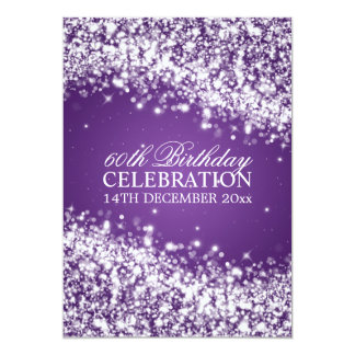 Elegant 60th Birthday Party Sparkling Wave Purple 13 Cm X 18 Cm Invitation Card