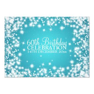 Elegant 60th Birthday Party Winter Sparkle Blue 13 Cm X 18 Cm Invitation Card