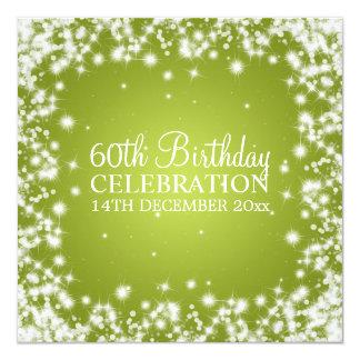Elegant 60th Birthday Party Winter Sparkle Lime 13 Cm X 13 Cm Square Invitation Card