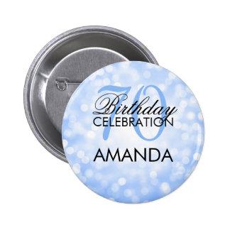 Elegant 70th Birthday Party Blue Glitter Lights 6 Cm Round Badge