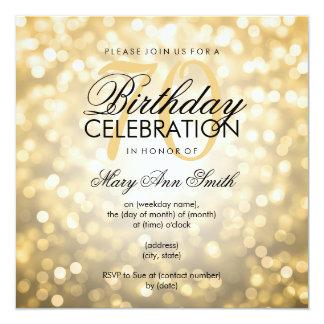 Elegant 70th Birthday Party Gold Glitter Lights 13 Cm X 13 Cm Square Invitation Card