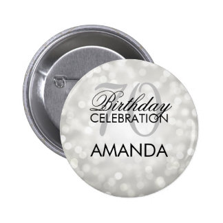 Elegant 70th Birthday Party Silver Glitter Lights 6 Cm Round Badge