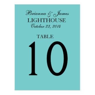 Elegant Aqua Blue Wedding Table Number Card Postcard