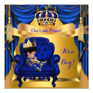 Elegant Baby Shower Boy Prince Royal Blue Gold 13 Cm X 13 Cm Square Invitation Card