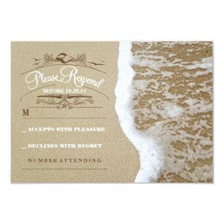 Elegant beach wedding RSVP card 9 Cm X 13 Cm Invitation Card