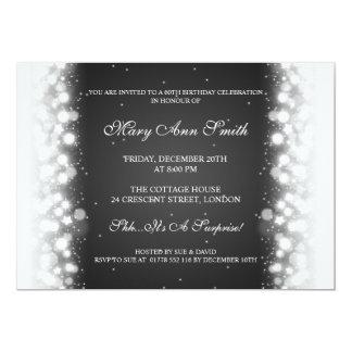 Elegant Birthday Party Magic Sparkle Black 13 Cm X 18 Cm Invitation Card