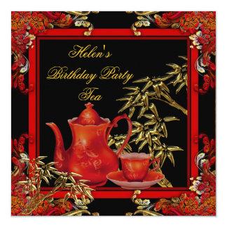 Elegant Birthday Party Tea Red Gold Bamboo 13 Cm X 13 Cm Square Invitation Card