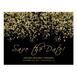 Elegant Black and Gold Confetti - Save the Date Postcard