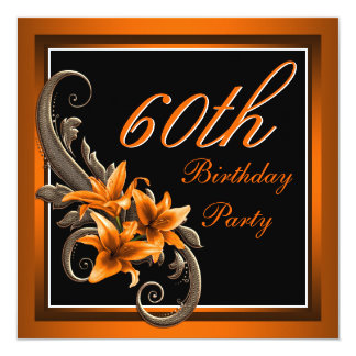 Elegant Black and Orange Tiger Lily Birthday Party 13 Cm X 13 Cm Square Invitation Card