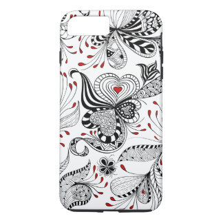 Elegant Black And Red Hearts & Floral Swirls iPhone 7 Plus Case