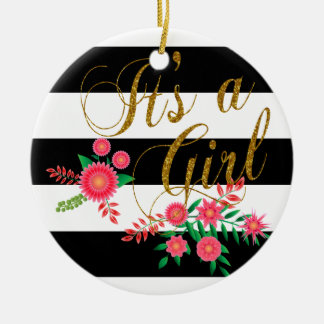 Elegant Black and White Stripes With Pink Floral Round Ceramic Decoration
