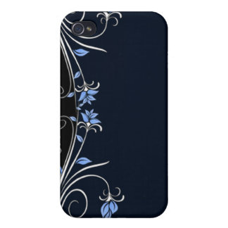 Elegant Black, blue and white floral i iPhone 4 Covers