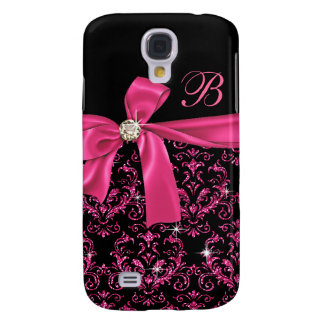 Elegant Black Pink Damask Diamond Bow Monogram Galaxy S4 Case