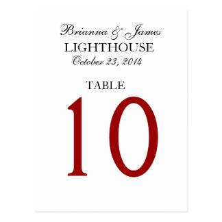 Elegant Black Red White Wedding Table Number Card Postcard