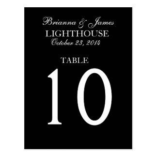 Elegant Black & White Wedding Table Number Postcard