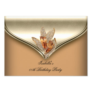 Elegant Caramel Beige Gold Birthday Party 11 Cm X 16 Cm Invitation Card