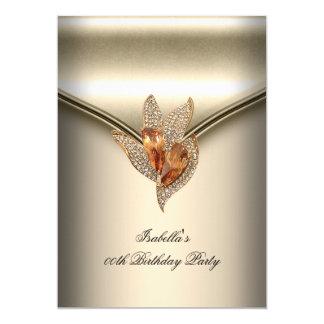 Elegant Caramel Beige Gold Birthday Party 13 Cm X 18 Cm Invitation Card