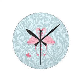 Elegant chic girly damask flamingos wallclocks
