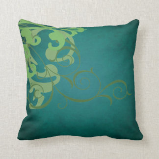 Elegant Chic Lime Scroll Teal Mojo Pillow Cushions