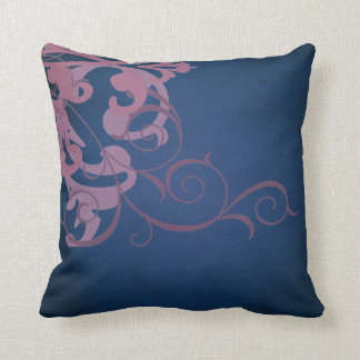 Elegant Chic Pink Scroll Blue Mojo Pillow Throw Cushion