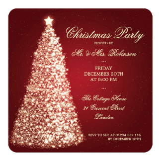 Elegant Christmas Party Gold Tree Red 13 Cm X 13 Cm Square Invitation Card