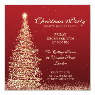 Elegant Christmas Party Red 13 Cm X 13 Cm Square Invitation Card