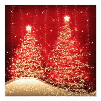 Elegant Christmas Party Sparkling Trees Red 13 Cm X 13 Cm Square Invitation Card