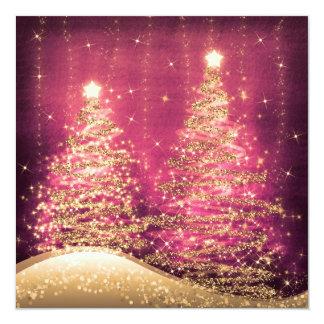 Elegant Christmas Party Sparkling Trees Rose 13 Cm X 13 Cm Square Invitation Card