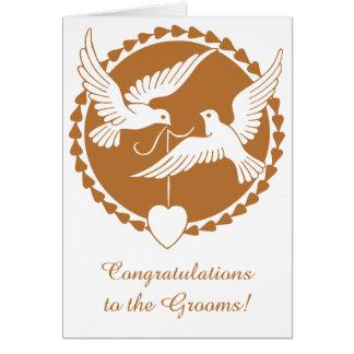 Elegant Copper Love Doves Gay Wedding Card