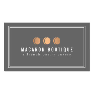 Elegant Copper Macaron Trio Logo on Gray Pack Of Standard Business Cards