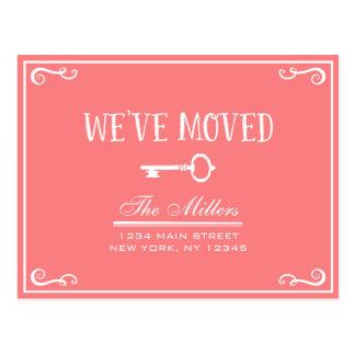 Elegant Coral Pink Key Moving Announcement Postcard