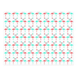 Elegant coral teal cute flaming pattern postcard