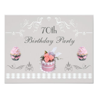 Elegant Cupcakes Pink & Grey 70th Birthday 11 Cm X 14 Cm Invitation Card