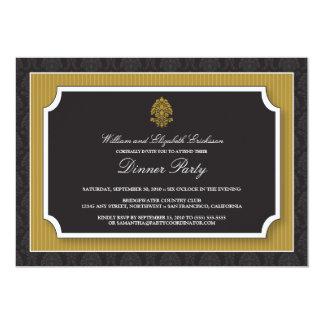 Elegant Damask Dinner Party Invitation (gold)