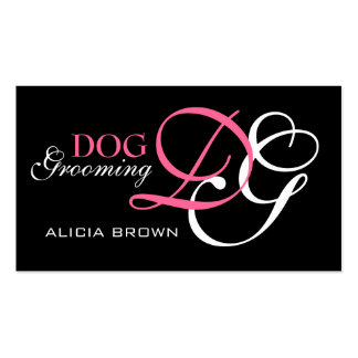 Elegant Dog Grooming Business Card Monogram