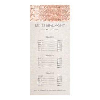 Elegant Faux Copper Sequins Salon Price List Menu Personalised Rack Card