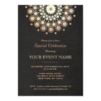 Elegant Faux Gold Foil Circle Motif Black Formal 13 Cm X 18 Cm Invitation Card