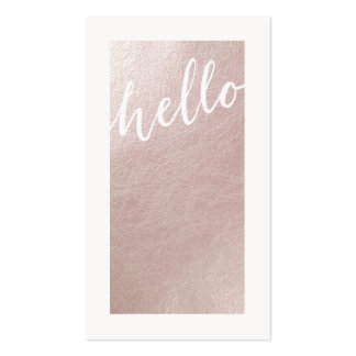 Elegant faux pink rose gold foil chic hello modern pack of standard business cards