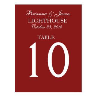 Elegant Firebrick Red Wedding Table Number Card Postcard