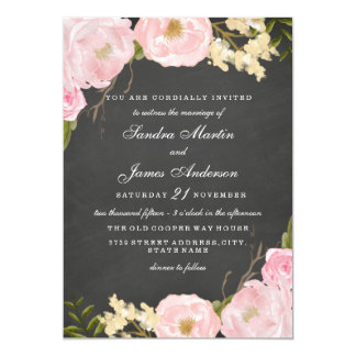 Elegant Floral Chalkboard Wedding Invitation