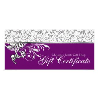 Elegant Gift Certificate Retail Floral Purple Personalised Rack Card