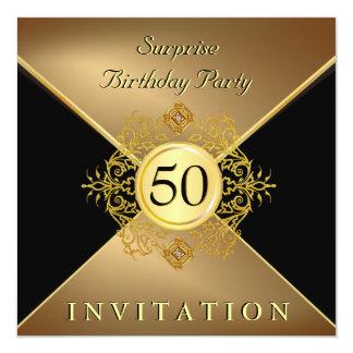 Elegant Gold Black 50th Birthday Surprise Party In 13 Cm X 13 Cm Square Invitation Card
