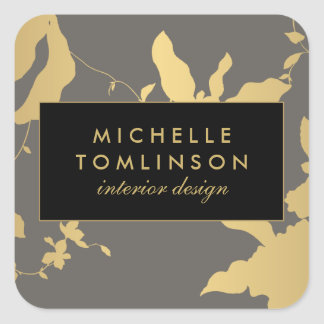 Elegant Gold Floral III Personalized Stickers