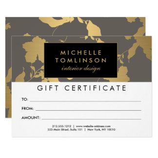 Elegant Gold Floral Pattern Gray Gift Certificate 11 Cm X 16 Cm Invitation Card