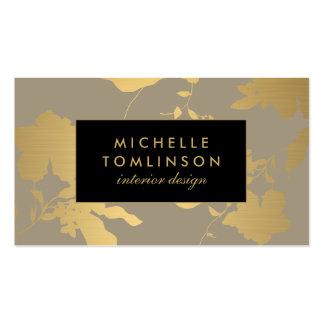 Elegant Gold Floral Pattern Taupe Designer Pack Of Standard Business Cards