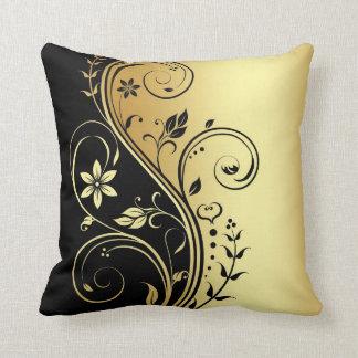 Elegant Gold Floral Scroll Black Pillow Throw Cushions